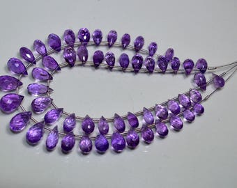 Top Quality !!!~ 100% Natural Purple Amethyst Faceted .Amethyst Drops - 8-13mm Approx , Micro Faceted Drops 8'' inch