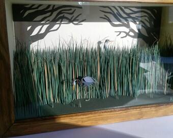 Peeping Herons. Paper-cut Kinetic Heron Sculpture. 2018