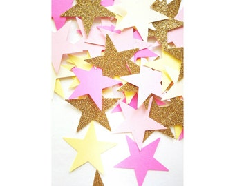 Twinkle Twinkle Little Star. Pink and Gold. Star Confetti. First Birthday. Star Theme. Gold Stars