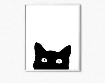 Cat print, black cat print, black cat wall art, black cat silhouette print, cat silhouette, black cat, cat poster, cat silhouette wall art