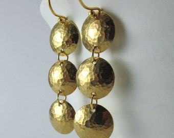 Sunlit Trio Earrings - Bright Hammered Domed Brass Discs