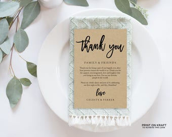 Wedding Thank You Card, Rustic Wedding, Thank You Printable, Wedding Calligraphy, Wedding Table Thank You, Agenda | 4x6"