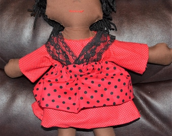 "Brown skin, Black Hair Handmade 15""Tall Doll"