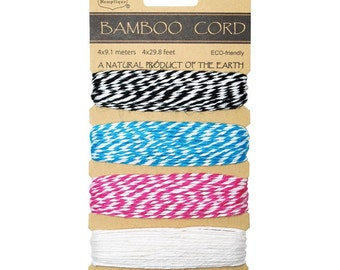 Peony Bamboo Bakers Twine for Packaging, Etc. 4 colors - 120 Feet -Black, Blue, Pink, White