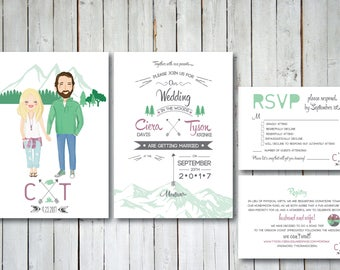 Mountain Custom Illustrated Wedding Invitation