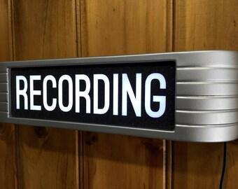 Recording Studio Warning Sign rca style Light Up finished in brushed aluminum with black moondust lens......NEW YEAR Ninety Nine Dollar Sale