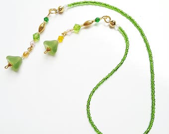 Green Seed Bead Bookmark with Pastel Green Flower Dangles, Colorful Faceted Crystal Beaded Thong Bookmark, Gift for Teacher