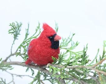 Needle Felted Cardinal Needle Felted Bird Needle Felted Animal Cardinal Ornament Bird Ornament Cardinal Keychain Miniature Cardinal Charm