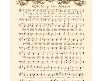 VICTORY IN JESUS --- 8 x 10 Antique Hymn Art Print Natural Parchment Sepia Brown Ink Other Colors Available Sheet Music Savior Glory Story