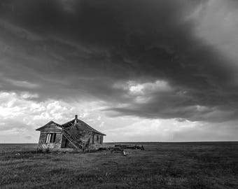 Black and White Photography Print - Picture of Abandoned House with Large Raindrops Under Stormy Sky in Southwest Oklahoma Vintage Decor