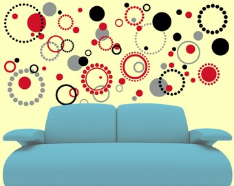 70 Wall Pattern Vinyl Decals - Circles and Dots Wall Decals - Abstract Design - Retro Decor Decal Stickers