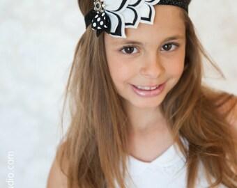 Black & White Felt Headband - Modern Wedding - Black and White - Layered Felt Flower Headband - Felt Headbands - Headbands for Girls - Felt