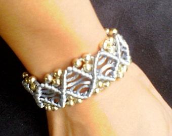 Silver macrame bracelet