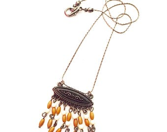 Wood and chain Fringe Necklace