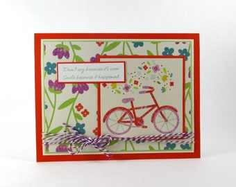 Inspirational greeting cards, bike, bicycle, friendship card, encouragement card, thinking of you