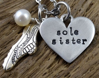 Sole Sister Runner Necklace - Hand Stamped Running - Woman Accessory - Marathon
