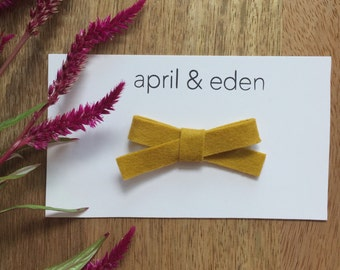 Baby felt bow headband or clip. Infant headband. Toddler headband. Girls headband. Mustard bow.