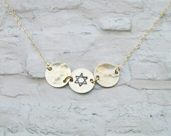 Gold disc necklace, Star of David necklace, Gold filled disc, Shield of David, Jewish symbols, Birthday gift,