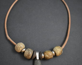 Necklace natural stone dinosaur beads leather and silver