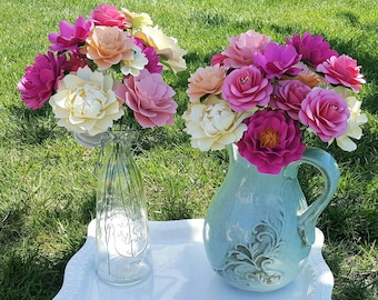 Paper Flowers - Wedding - Birthday - Special Events - Set of 24 - Mixed Sizes and Styles - Made To Order - Tea Party