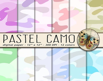 Camouflage Digital Papers, Pastel Camo Digital Paper, Military Digital Paper, Soft Colors Camouflage Background Paper