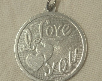 I Love You Charm Solid Sterling Silver .925 -73 Hearts