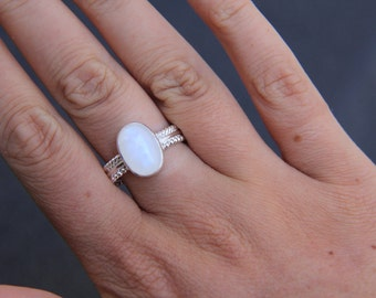 Oval Talisman Moonstone Ring, Sterling Silver Ring, Boho Ring, Gypsy Ring, Stone Ring, Statement Ring, Sunsara Jewellery