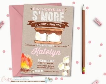 Smore Birthday Invitation, S'more Birthday Invitation, S'more Birthday Party, S'mores, Smore Invitation, Bonfire Invitation, Camping
