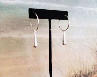 Sterling Silver Hoops, Seamless Sterling Hoops, Sterling Tear Drop Charm, Minimalist, Dramatic, Sweet and Simple, Removable Charm
