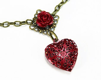 Red Heart Filigree Locket with Red Rose on Filigree Necklace