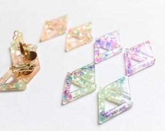 Limited // Crashed Shell Earrings, Triangle Earrings, Translucent Earrings, Soft Pink, Glitter Earrings, Holographic Earrings