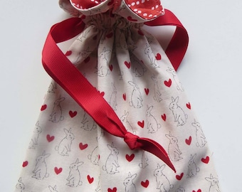 Hearts and Bunnies Lined Drawstring Fabric Gift Bag
