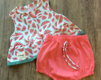 Toddler girl watermelon outfit/ baby girl clothes / baby girl dress/ party girl dress/ birthday girl outfit / baby girl gift