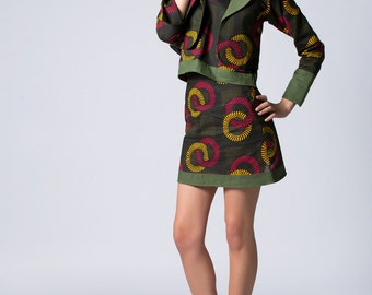Green Blazer, African Print Blazer,Short Blazer, Long Sleeved Blazer,Print Blazer,Handmade Blazer,Casual Blazer,Cotton Blazer,Fashion Blazer