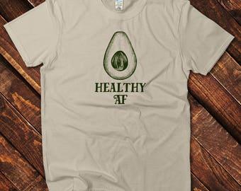 Healthy AF Tshirt, Vegan Shirt, Vegetarian Shirt, Funny Graphic Tee, Healthy Shirt, Healthy Gift, Avocado Shirt, Vegetarian Tshirt, Vegan