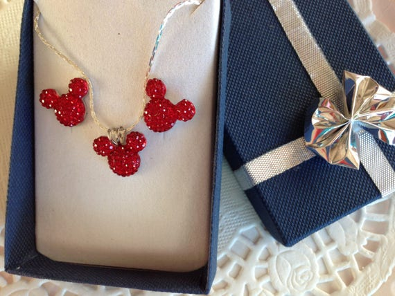 Hidden Mickey-Necklace and Earrings Set-Disney Wedding Party-Dazzling Bright Red Acrylic