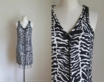 75% OFF... last call // vintage animal print dress - ZEBRA Norma Tullo dress / xs