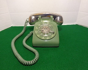 Vintage Bell System Green Rotary Dial Telephone By Western Electric with a Eales of Sheffield  70's Silver Plated Handle Receiver Cover