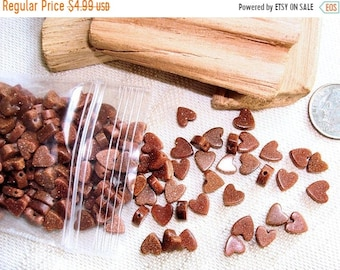ON SALE 175 GOLDSTONE  6mm Heart  Beads  -  with Straight Side Edges