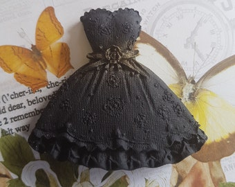 6 x Edible Fondant Black Dresses for Cake and Cupcake Topper