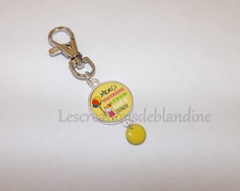 """Thank you master for helping me grow"" key ring"