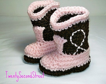 Baby Cowgirl Booties  Dark Brown & Baby  Pink  Western Cowboy Boots