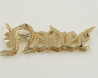 """old english name plate , 14k solid gold ,1.5"""" side to side  .deb"""