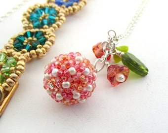 Fiver Friday Pendant or Bracelet Offer, Rainbow, Pink, Handmade Glass Bead Jewellery