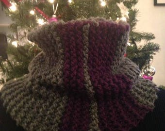 Gray knit cowl with purple stripes