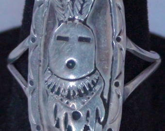 Native American Hopi Sterling Silver Kachina Ring Size 8 1/4