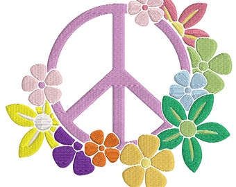 Flower Power with Peace Sign - Instant Download - Digital Machine Embroidery Design