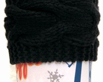 Cup Cozy, Knit Coffee Cup Sleeve, Black, Cable Knit,Tea Coffee cozie, Coffee Lover Stocking Stuffer