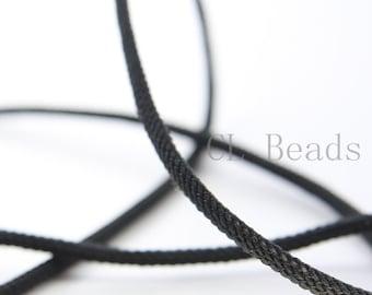 3 Feet Black Braided Fabric Cord-Round 3mm (ML2213006)