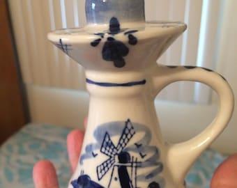Delft blue candle holder